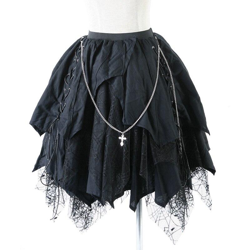 Asimétrica De Mujeres Llegada Negro Vendaje Nueva Gótico La Faldas Falda Las Longitud Araña Encaje Rodilla Lolita qAYCfw