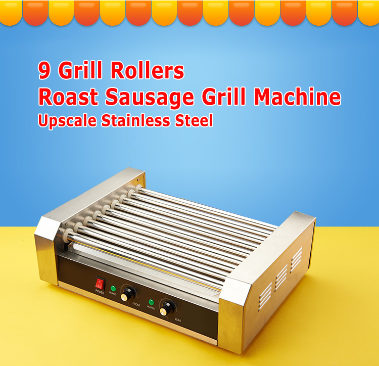 Hot Dog Roller Grilling Machine Stainless Steel Commercial Quality Hotdog Maker with 9 Grill Rollers electric hot dog grill commercial hotdog maker warmer cooker grilling machine without cover 5 roller