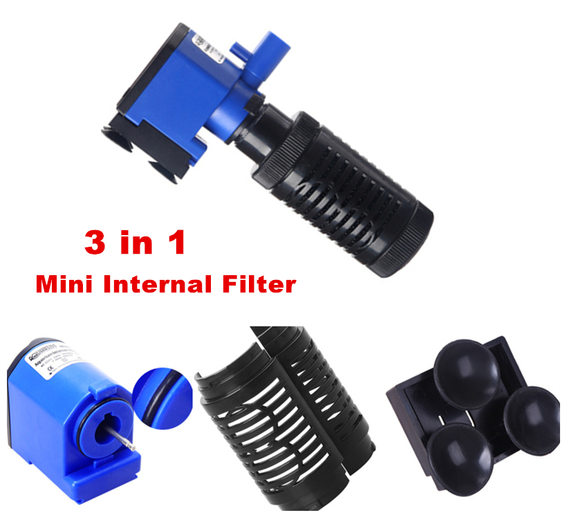 3 në 1 Aquarium Mini Pompë zhytëse e filtrit të brendshëm me - Produkte për kafshet shtëpiake