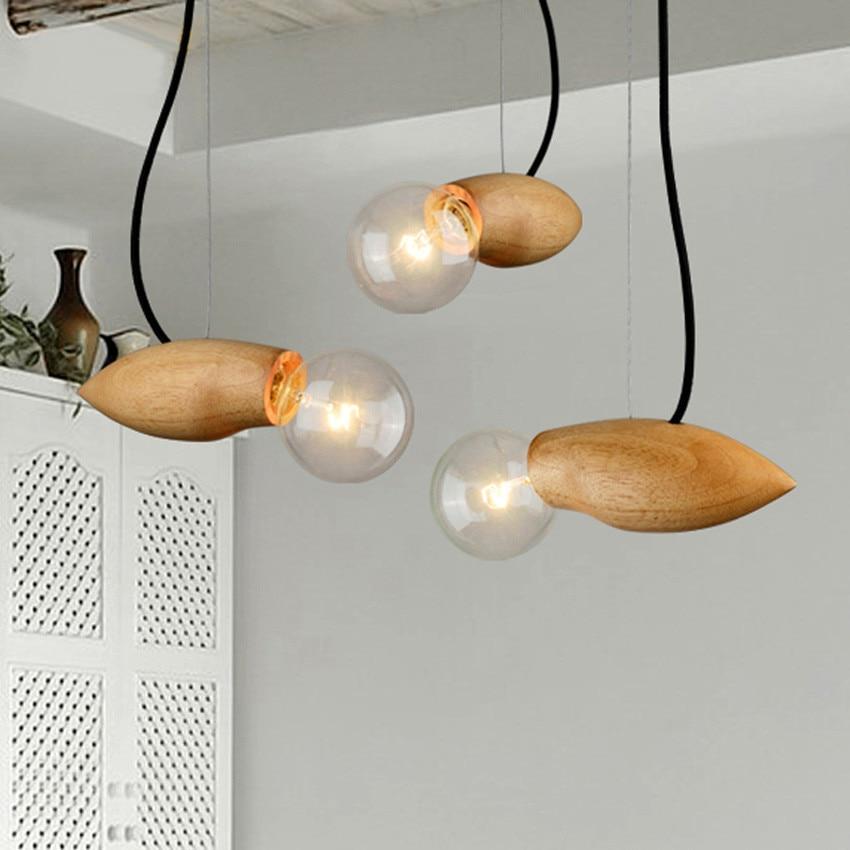 Modern Mango shape Creative wooden Led Pendant Lights,Wooden Light Holder Edison Pendant lamp for cafe bar Deco Hanging Lamps