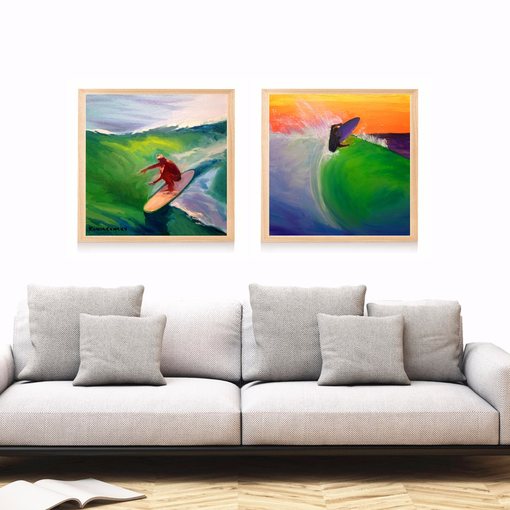 Abstract Surf Watercolor Canvas Art Print Painting Poster Wall ...