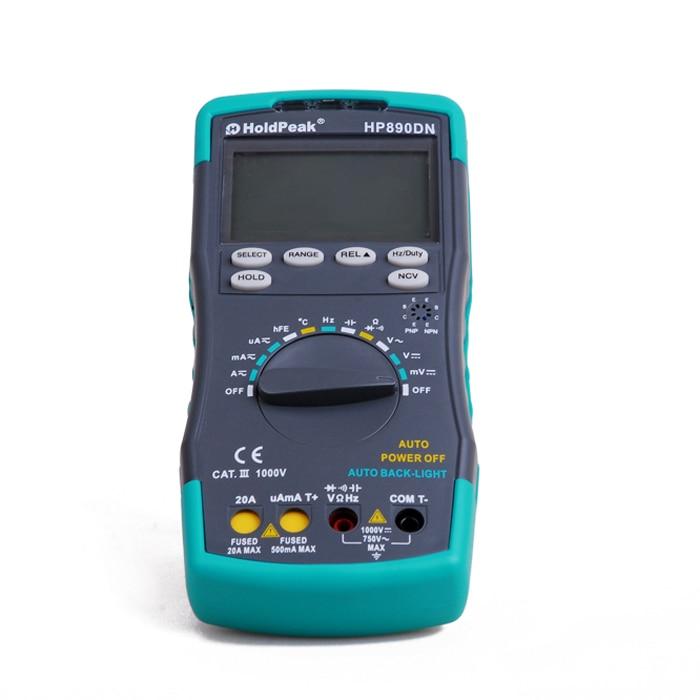 HoldPeak HP-890DN LED Digital Multimeter DMM with NCV Detector Voltage Current Meter Capacitance Tester HP890DN