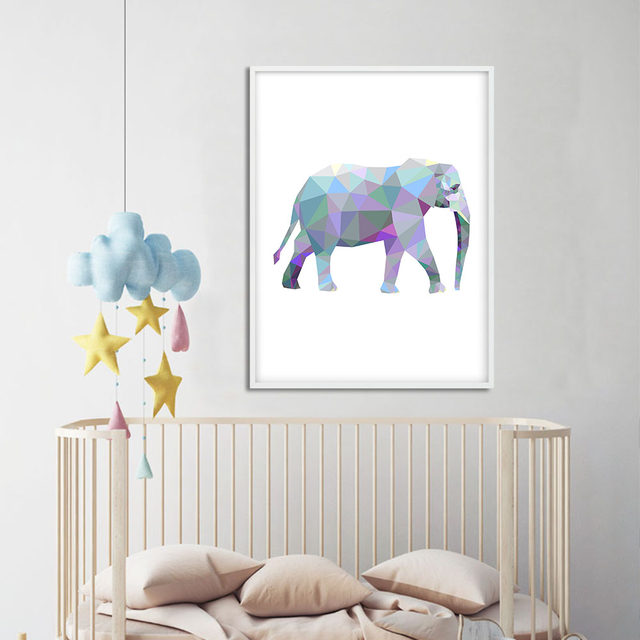 Geometry Animal Rabibt Elephant Lion Wall Art Canvas Posters And Prints  Abstract Canvas Painting Wall Pictures For Living Room