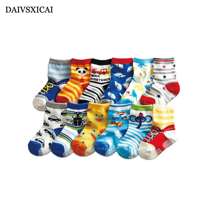 Daivsxicai Cartoon Children Socks Non-slip Fashion Kids Cotton Socks Individuality Cute Pattern Baby Socks 5pairs/lot