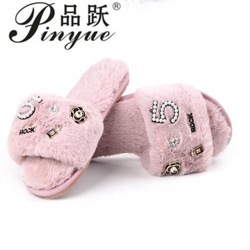 brand designer perfume decoration fur slippers women winter flip flops camellia pearl beading fur sandals women pantufas faux fur cuff pearl beading scallop dress page 3