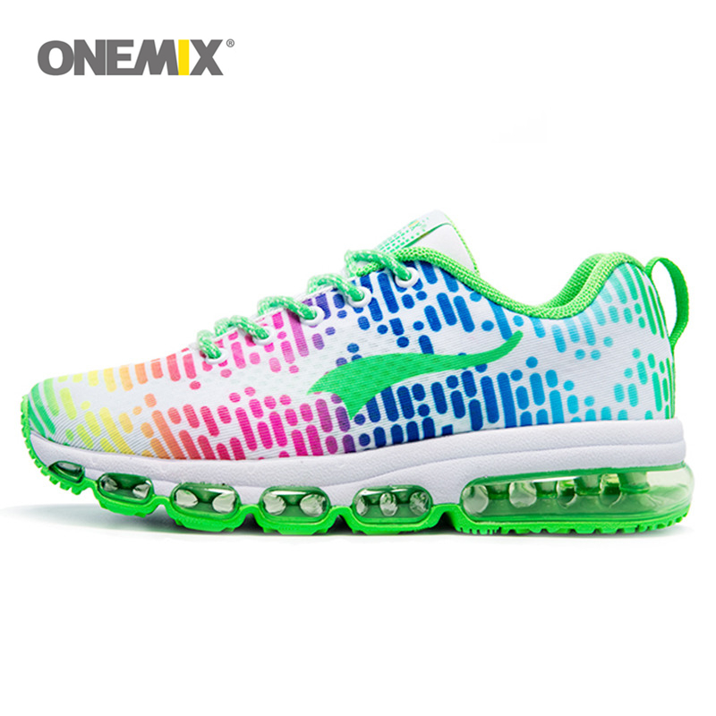 ONEMIX Women Sport Shoes Green Trainers Lady Fitness Sneakers Nice Music Air Running Shoe Female Pink Color Adult size EU 36-46 2017brand sport mesh men running shoes athletic sneakers air breath increased within zapatillas deportivas trainers couple shoes