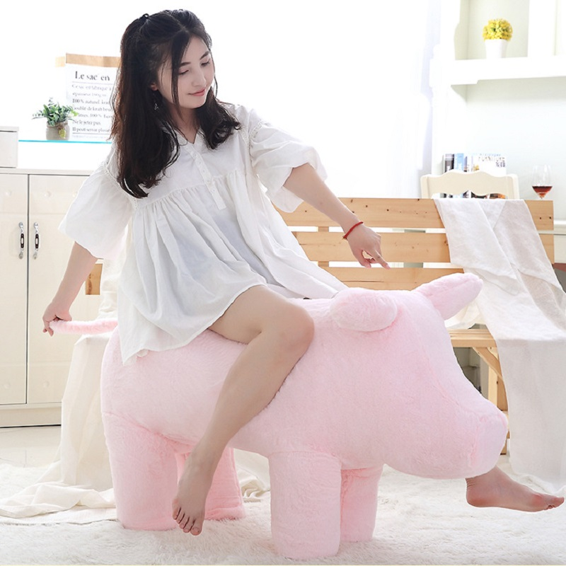 Piggy sofa stuffed toy pig seat stool Pink cure plush toy soft toys