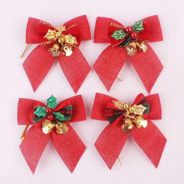8x8cm christmas tree hanging decoration burlap bell bow xmas diy pendants christmas festival party events decorations