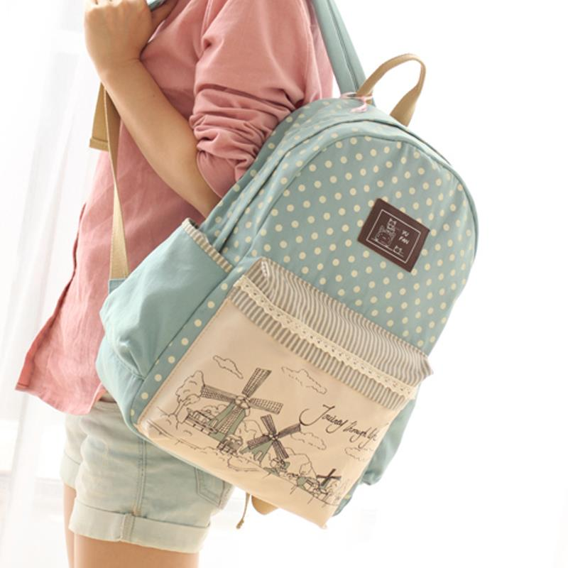 New Fashion Canvas Backpack Children School Bags Female Women ...