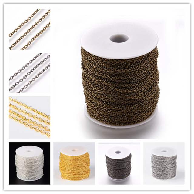 100 M/roll 3x2x0,5mm несварных 5 цветов стальная скрещивающаяся цепь на катушке цепи DIY Цепочки и ожерелья Фурнитура для браслетов аксессуары PANDAHALL