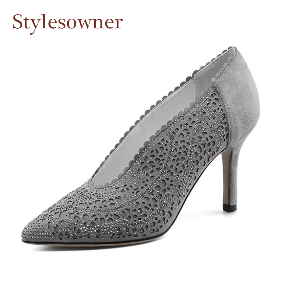Stylesowner new design cut out hollow shoes for women pumps spring autumn sexy pointed toe stiletto hees ladies party shoes pump