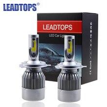 2 шт. супер яркий H7 H4 LED H11 H1 H8 H11 лампы 72 Вт Фары для автомобиля авто Светодиодная лампа с вентилятором автомобильные светодиодные 6000 К Белый 12 В автомобильной AJ