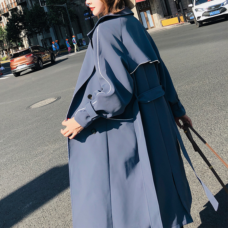 Élégant Style De bleu Vêtements Automne Lâche Femelle Mode Tranchée Long Noir Femmes Fitaylor Marque Survêtement Manteau Casual Bur 7IwqId1