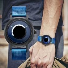 SINOBI Top sale Unique Rotate Creative Watch Mens Steel Mesh band Quartz Wristwatches Sports Blue Mens Watches Reloj Hombre