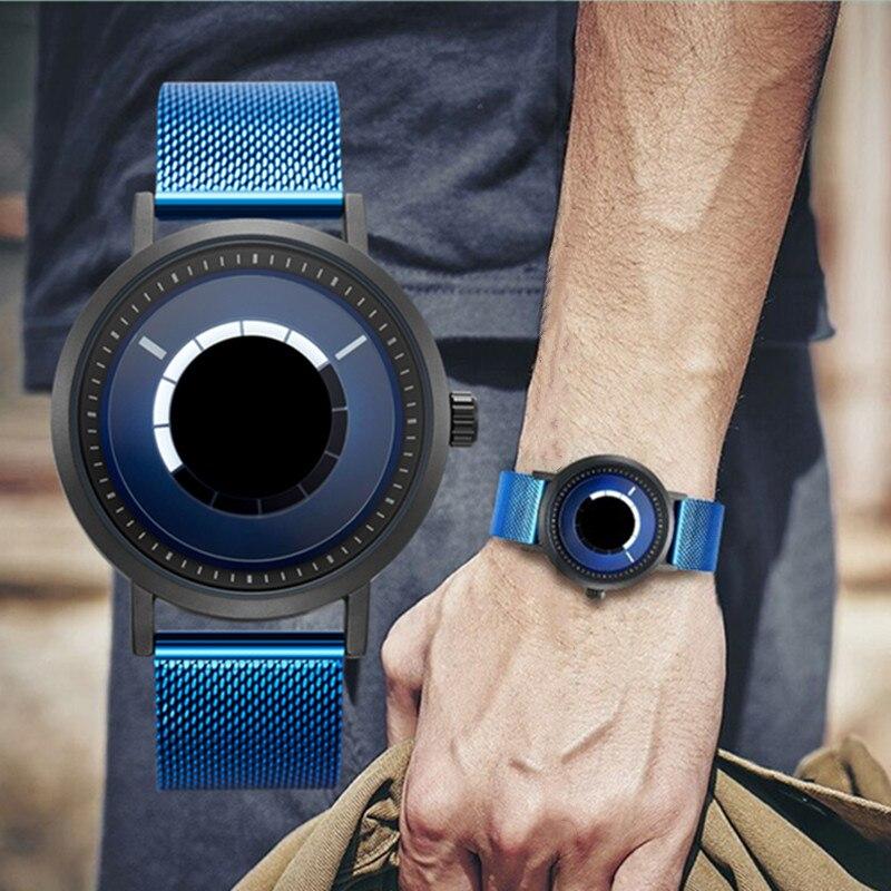 SINOBI nouveau Unique rotation montre créative hommes homme acier maille bande Quartz montres-bracelets sport décontracté bleu hommes montres Reloj Hombre