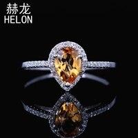 Solid 10k White Gold 7X5mm Pear Genuine Citrine Ring Engagement Wedding Gemstone Jewelry Citrine Fine Natural