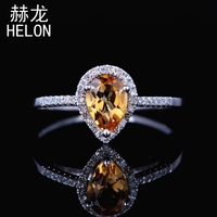 Solid 14k (585) white Gold 7X5mm Pear Genuine Citrine & Real Natural Diamonds Ring Engagement Wedding Gemstone Fine Jewelry Ring