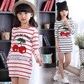 Camiseta roupa dos miúdos listradas primavera camisa da menina t para 5 6 7 8 9 10 11 12 Anos de Manga Comprida O Pescoço Da Moda Meninas Adolescentes roupas