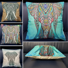 Indian Style 3D Elephant Animal Printed Linen Cotton Square Plain Cushion Cover For Sofa Car Home Decorative Throw Pillowcase