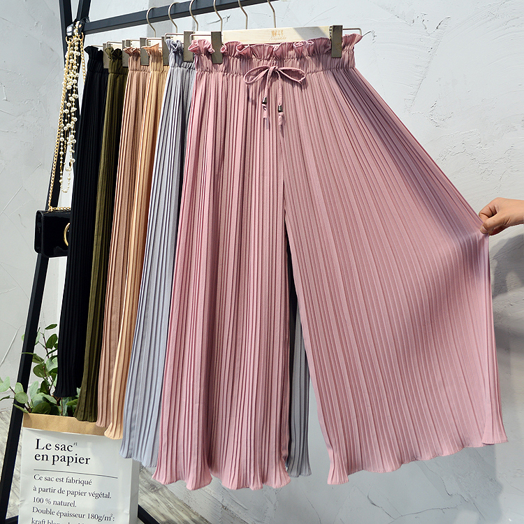 Summer Ruffles Women Chiffon   Wide     Leg     Pants   Solid Color High Waist Pleated   Pants   Ankle-Length