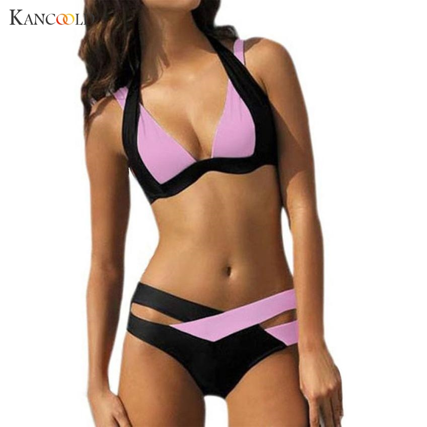 New 2 PC Sexy Swimwear Womens Swimsuit High Waisted Bathing Suits Halter Push Up Set Maillot De Bain S-3XL Bra & Brief Sets MA23