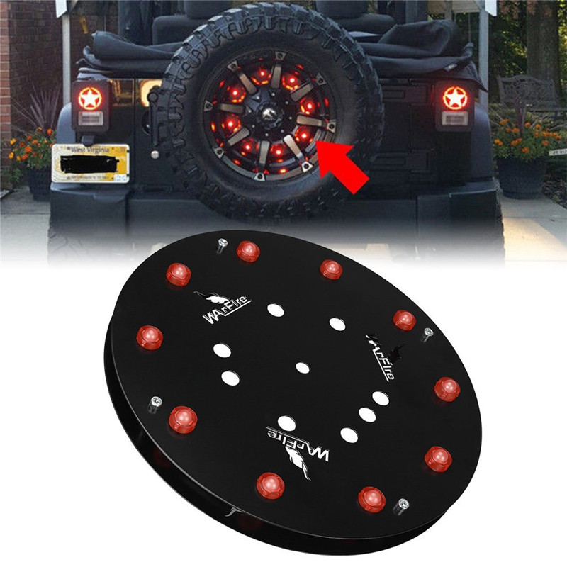SUPAREE 1pc 12.5 inch Spare Tire Wheel LED Brake Light Rear Red Tail Lights Lamp Ring For Jeep YJ TJ JK Wrangler 1986-2016 car taillight spare tire led third brake light spare tire cover red warning light for jeep wrangler jk accessories 2007 2017