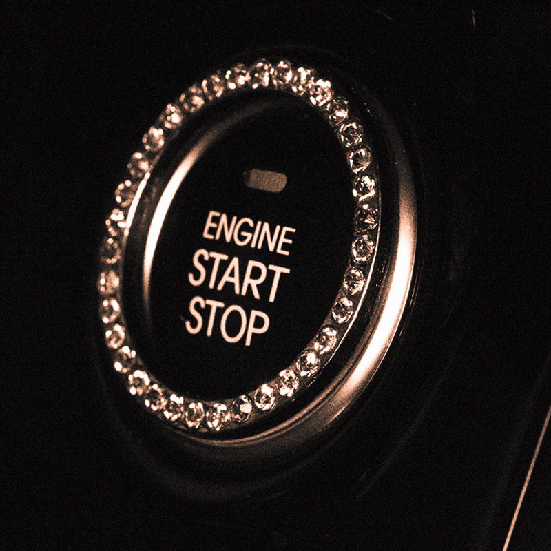 3pcs Crystal Rhinestone Car Emblem Sticker Ring Auto Start Stop Engine Ignition Button Key & Knobs Bling Car Interior Decoration