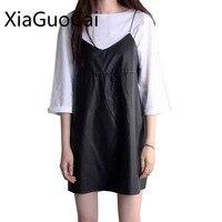 PU Leather Black Women Dress Spaghetti Strap Mini Dress Summer Robe Halter Preppy Style Female Dress