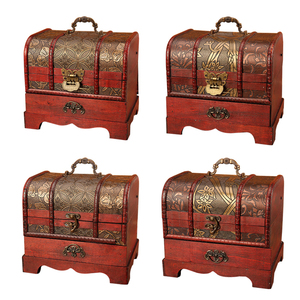 Image 3 - Large Vintage Metal Lock Trinket Jewelry Storage Box Organizer Handmade Decorative Wooden Treasure Case Chest Gift
