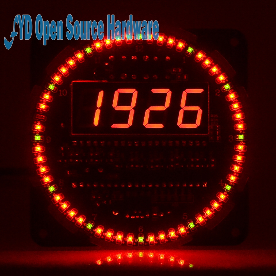 DS1302 clock  18b20 temperature display alarm clock function Rotating LED electronic clock kitDS1302 clock  18b20 temperature display alarm clock function Rotating LED electronic clock kit