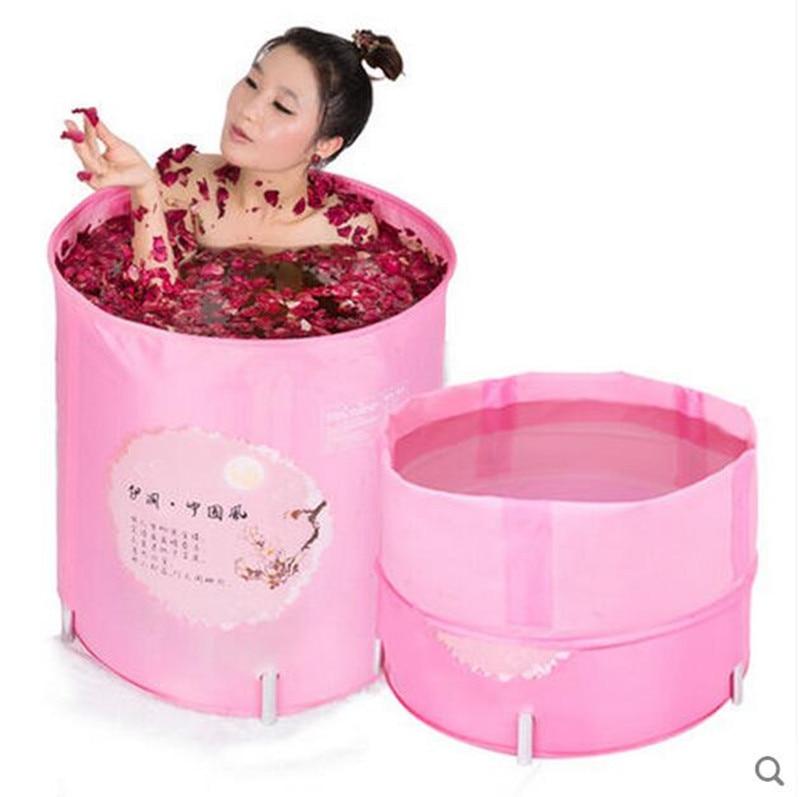 Elegant China wind adult folding shower bath tub bath barrel folding barrels to cover