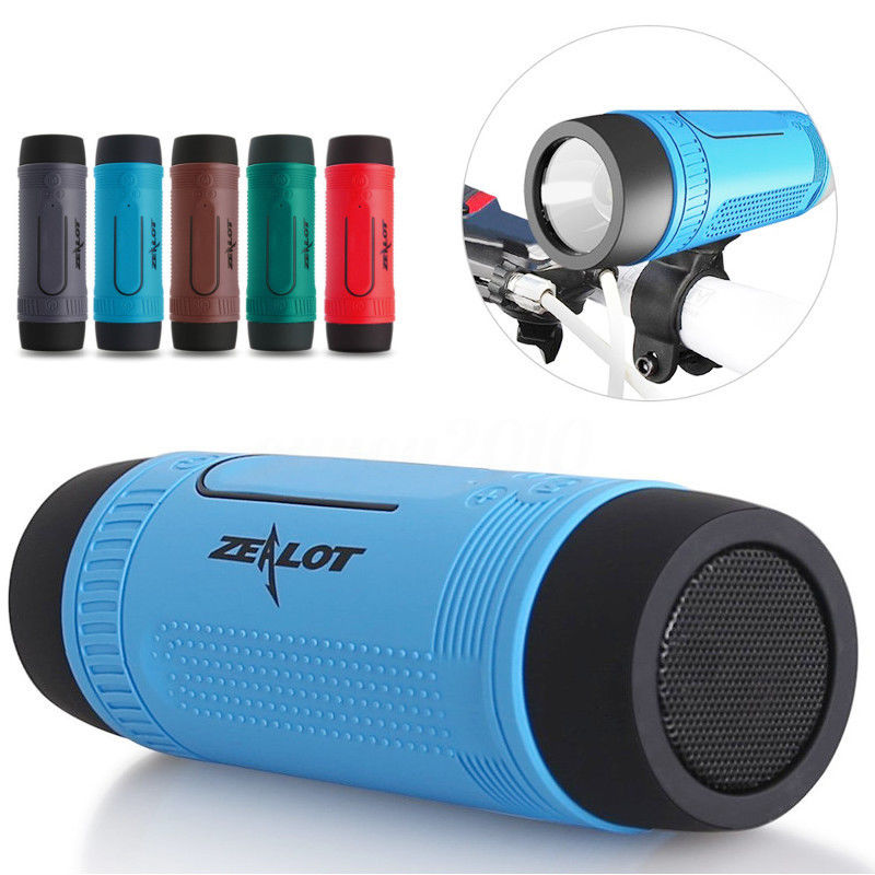 Zealot S1 Portable Outdoor Loudspeaker Waterproof Bluetooth Speaker Stereo Built-In Mic Flashlight Power Bank TF Soundbox