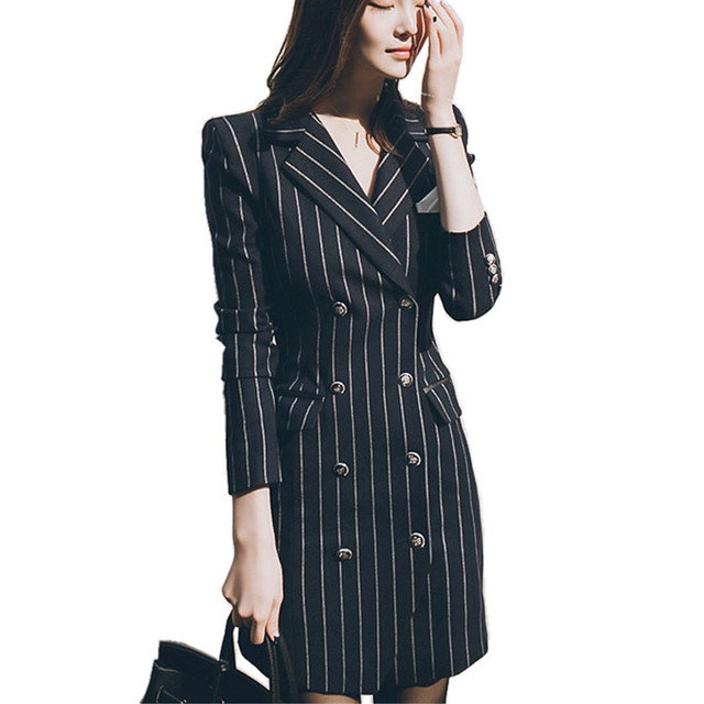 Korean Fashion Peacoat Women 2016 Autumn New  Double Breasted Dress Coat Ladies Slim Bodycon Striped Trench Coat