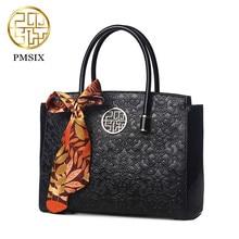 26cfd1813d Pmsix marca delle donne di modo borsa di alta qualità imitazione di cuoio  floreale in rilievo tote del sacchetto di spalla femmi.