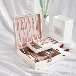 Portable Makeup Jewelry Box PU Earrings Rings Necklace Bracelet Lipstick Holder Case Women Birthday Wedding Exquisite Gift Box