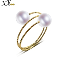 XF800 18K Yellow Gold Rings Natural Freshwater Pearl Rings AU750 Fine Wedding Brands For Women Trendy Party Engagement Box J302