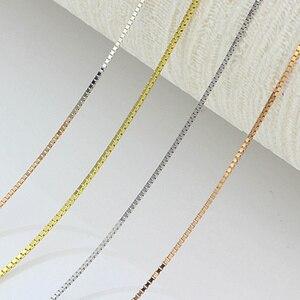 Image 5 - Tuyệt Đẹp Chắc Chắn Au750 18K Trắng Hoa Hồng Vàng Dây Chuyền Nữ Hộp Liên Kết Vòng Cổ 16 Inch 18 Inch