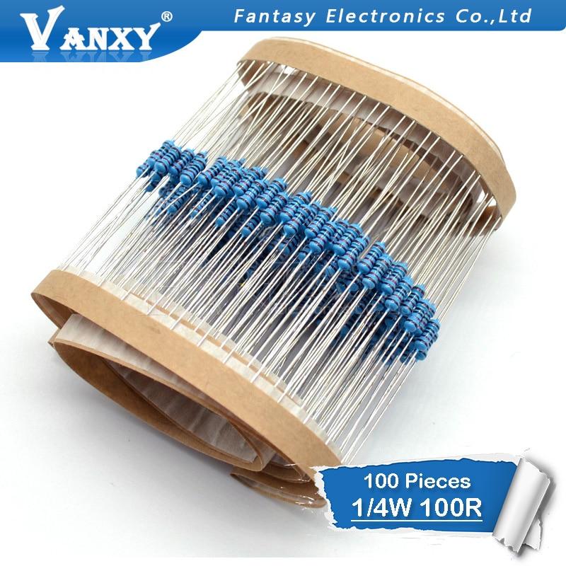 100pcs 1% 100 Ohm 1/4W 100R Metal Film Resistor 1%
