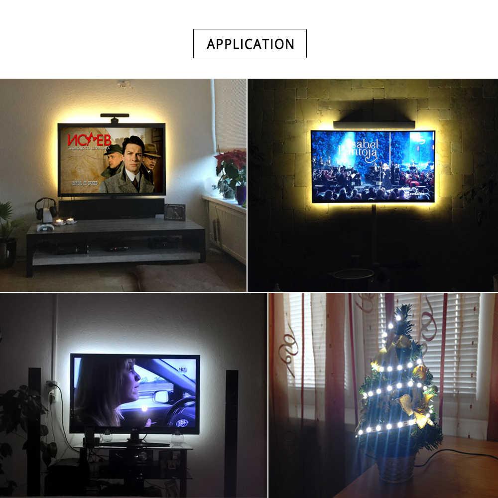 Светодиодная лента с питанием от USB SMD 3528 50 см 1 м 2 м 3 м 4 м 5 м ТВ фоновая светящаяся лента Праздничная Рождественская настольная декоративная лампа