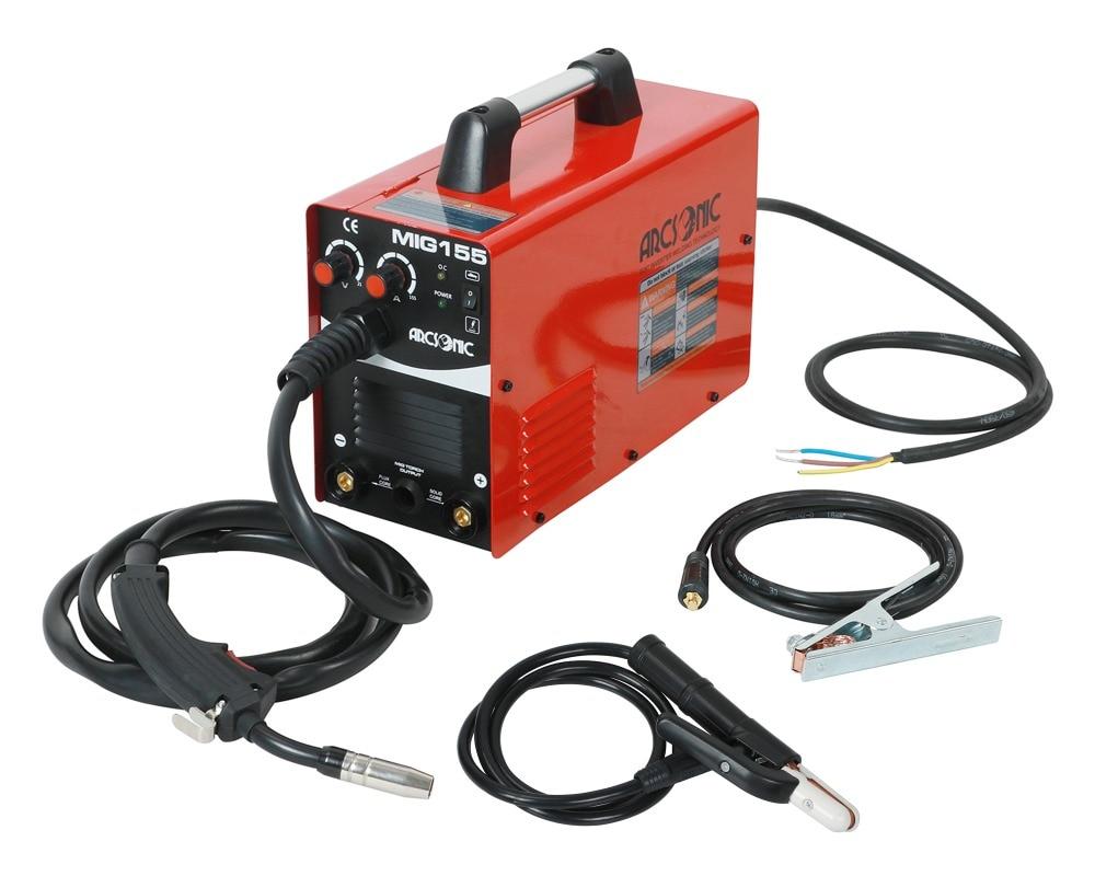 IGBT Gas/No Gas MIG155 Mig Welder 220V Flux Core Wire Steel Welding Machine Portable DC 2 In 1 Mig Welding MMA Welding