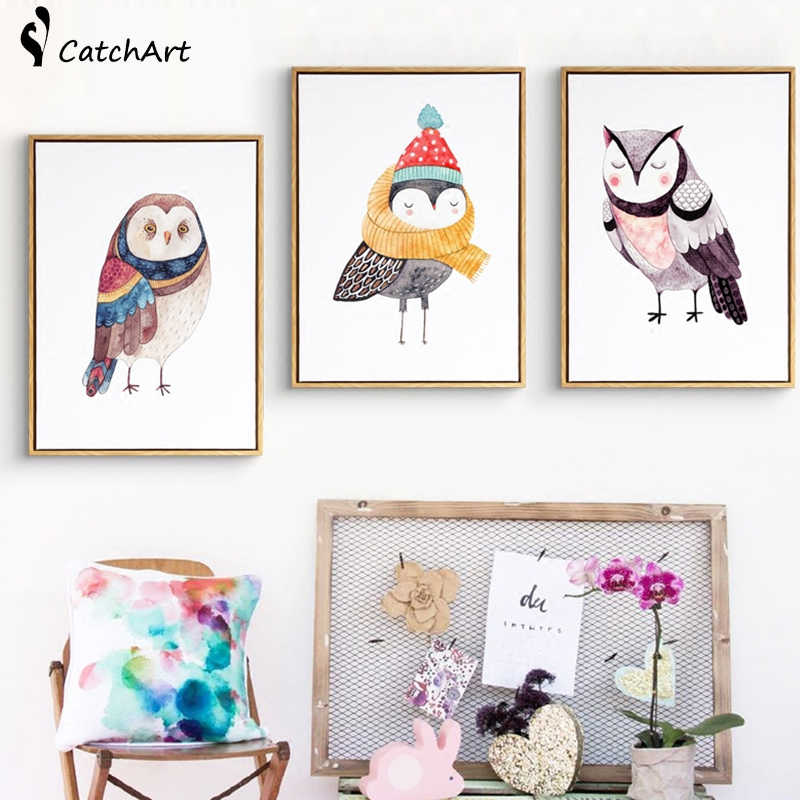 Cute Cartoon Animals Oil Paintings Owl Canvas Art DIY Posters Pop Art Wall Art Paint by Number Nursery Kids Decor No Frame