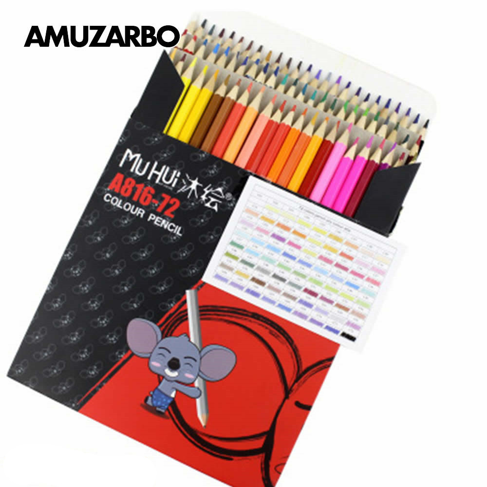 Wood Colored Oil Pencil 72/48 Color Sketch Art Supplies Advanced Painting Color Pen Students Adult Painting Office Stationery
