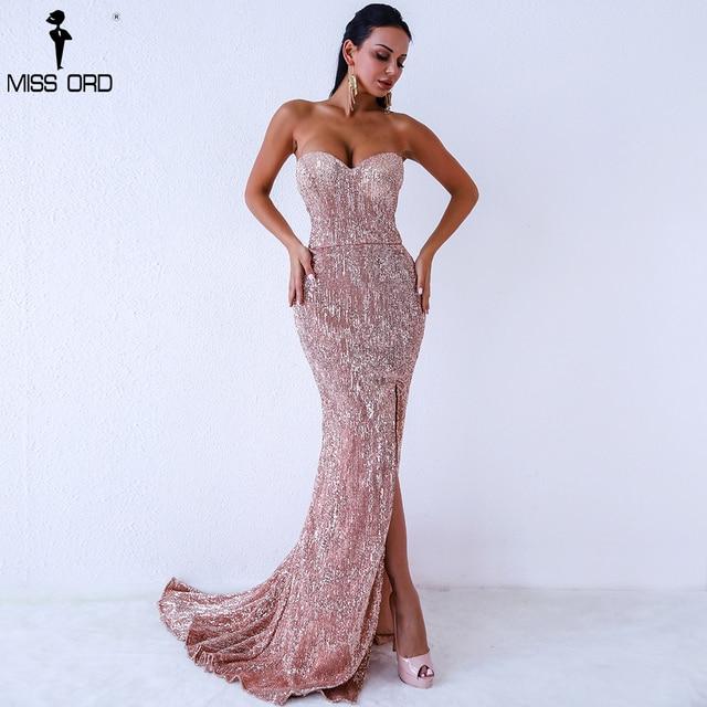 Missord 2019 Sexy BRA Off Shoulder Sequin High Split Female Reflective Dress Maxi Elegant Party Dress Vestdios FT9188 1