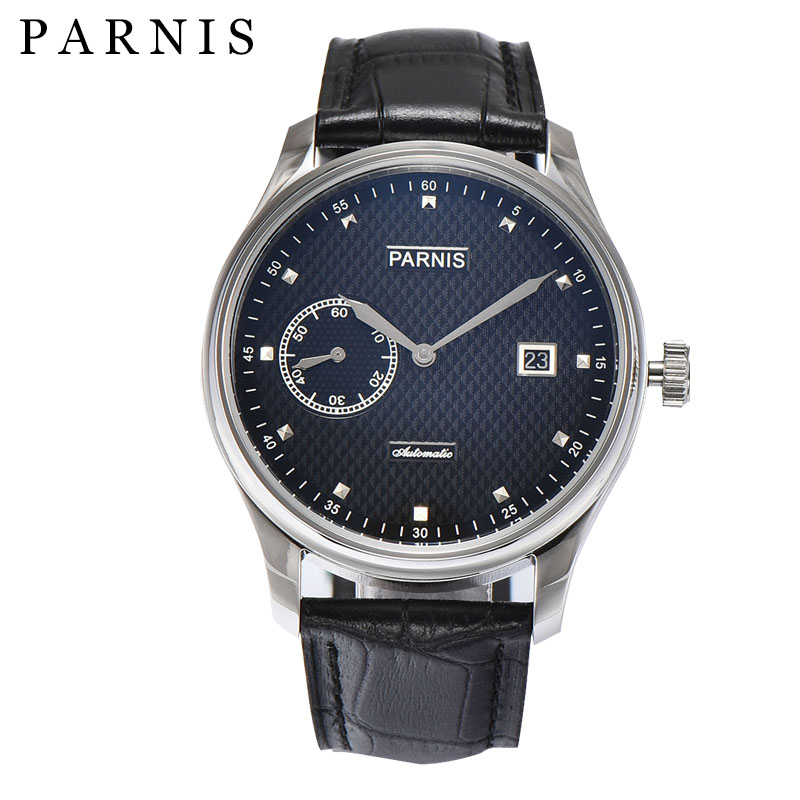 43mm Watch Men Parnis Mens Automatic Watches Black Dial Stainless Steel Case Sea-gull 2555 Leather Male Wristwatch 47mm parnis black dial complete calendar 2017 top brand luxury stainless steel case sea gull automatic movement men s watches