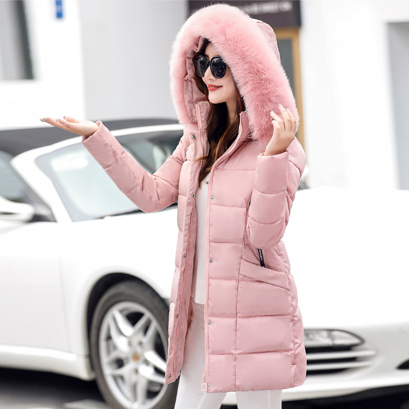 2017 Fashion Parks Mujer Outerwear Winter Fur Collar Windbreakers Women Blends Cotton Padded Middle Medium Casual Jacket
