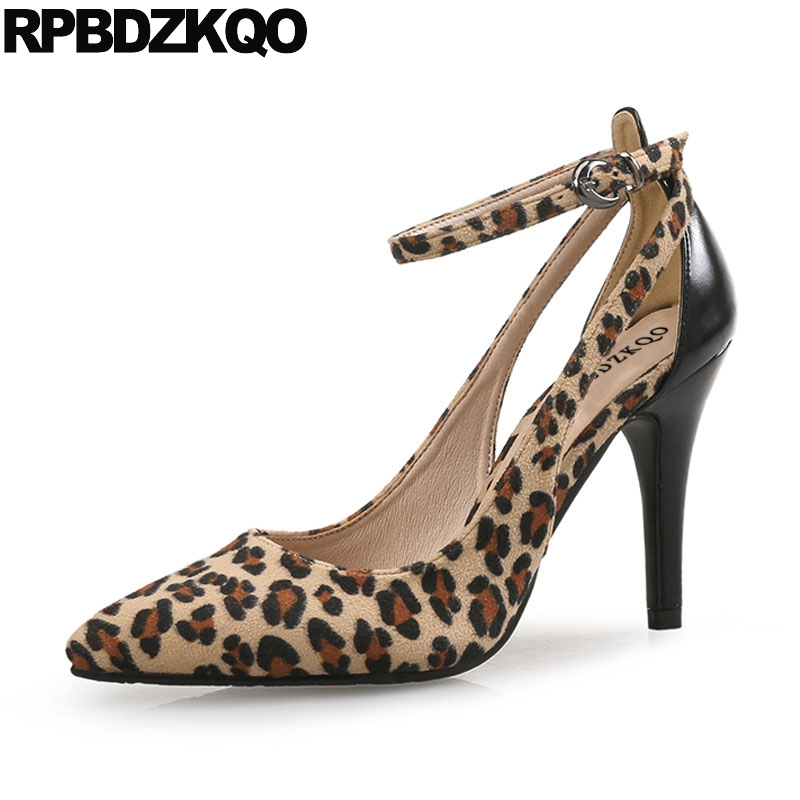 Pointed Toe Ankle Strap Plus Size 2018 Leopard Print 4 34 Shoes Women Prom Suede Pumps Stiletto 33 China Blue High Heels Sexy cocoafoal woman green high heels shoes plus size 33 43 sexy stiletto red wedding shoes genuine leather pointed toe pumps 2018