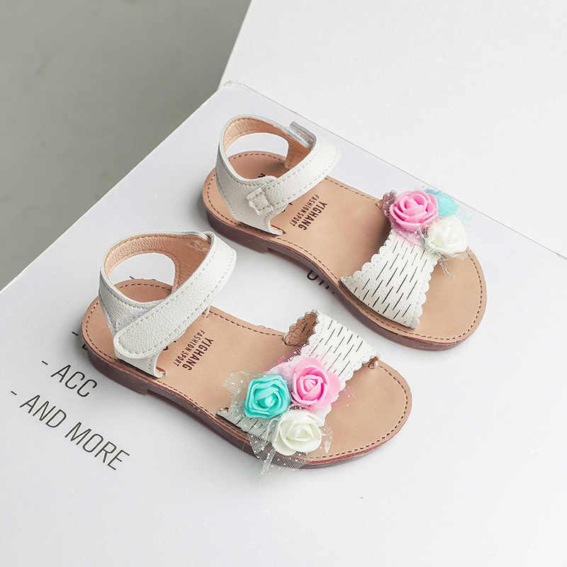 Удобные детские летние сандалии без каблука для девочек; модные пляжные шлепанцы для девочек; детская обувь; детские сандалии