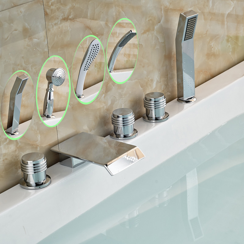 Deck Mount Luxury 5pcs Bathtub Tub Mixer Taps Bathroom Widespread Chrome Brass Bath Tub Faucet with Handshower платье mariella burani для девочки цвет белый
