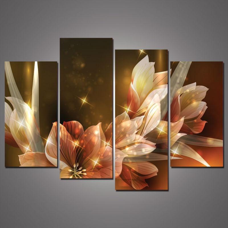 4Panel Canvas Nástěnná malba Bohatství a luxusní zlaté květiny Art Picture Home Decor on Canvas Moderní nástěnná malba