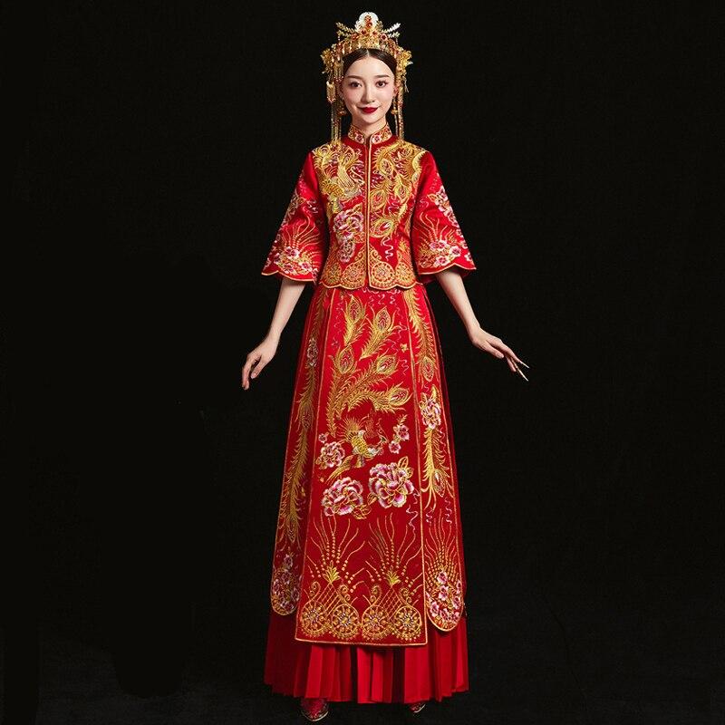 Rouge mariée cheongsam Vintage style chinois robe de soirée de mariage vêtements broderie Phoenix Qipao costume Vestidos taille S-XXXL - 3